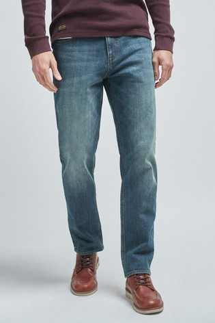 Dirty Denim Straight Fit Jeans With Stretch