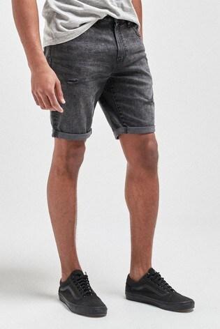 Washed Black Ripped Skinny Fit Denim Shorts