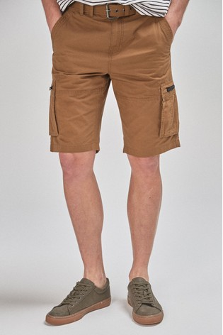 Tan Belted Cargo Shorts