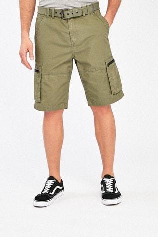 Light Khaki Belted Cargo Shorts