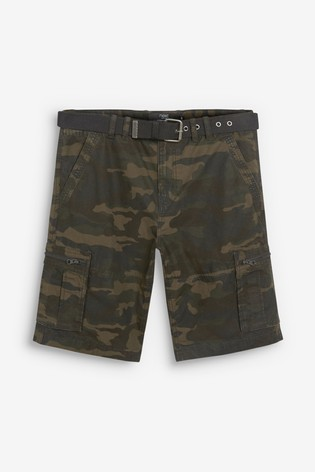 Camouflage Belted Cargo Shorts