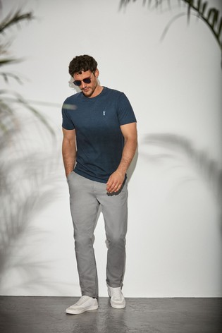 Navy Marl Regular Fit Stag T-Shirt