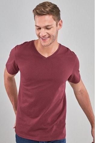 Burgundy Regular Fit V-Neck T-Shirt