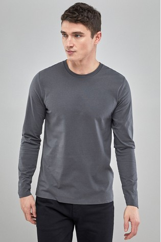 Charcoal Regular Fit Long Sleeve Crew Neck T-Shirt