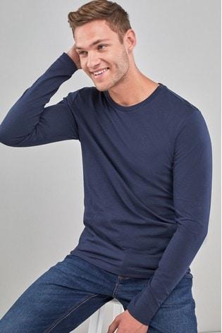 Navy Regular Fit Long Sleeve Crew Neck T-Shirt