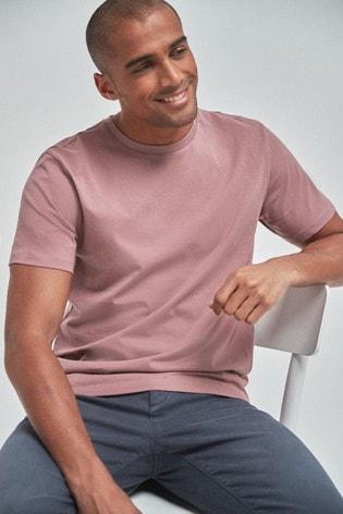 Dusky Pink Regular Fit Crew Neck T-Shirt