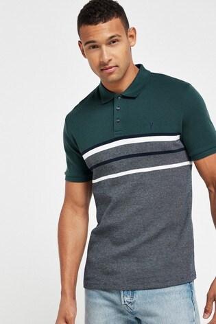 Green/Navy Blocked Soft Touch Poloshirt