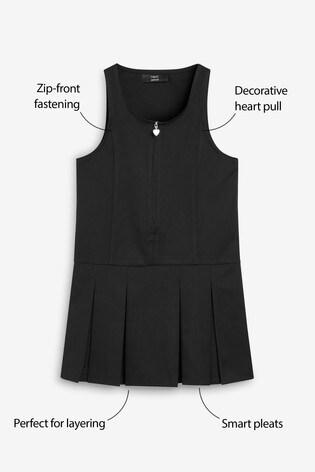 Black Zip Front Pinafore (3-14yrs)