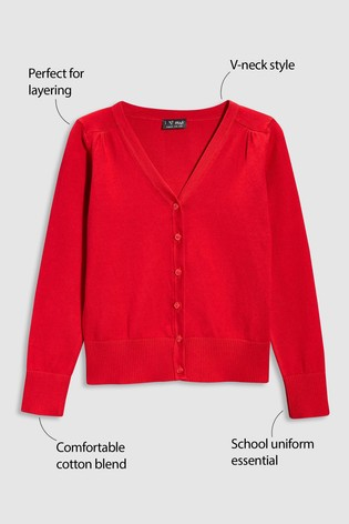 Red V-Neck Cardigan (3-16yrs)