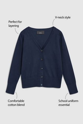 Navy V-Neck Cardigan (3-16yrs)