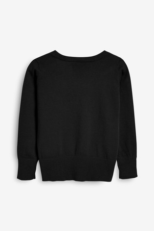 Black V-Neck Cardigan (3-16yrs)