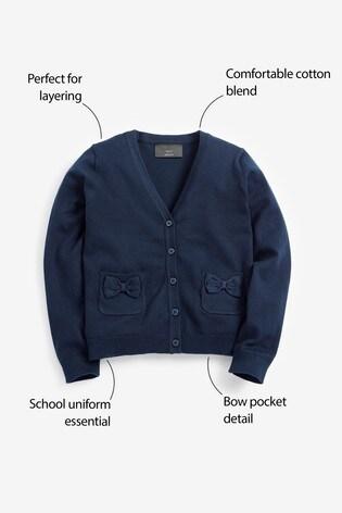 Navy Bow Pocket Cardigan (3-16yrs)