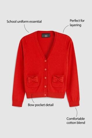Red Bow Pocket Cardigan (3-16yrs)