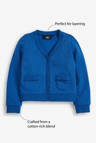Blue Frill Pocket Jersey Cardigan (3-16yrs)