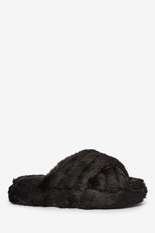 Black Cross Strap Slippers With Recycled Faux Fur (Older)