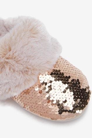 Buy Rose Gold Sequin Faux Fur Mule