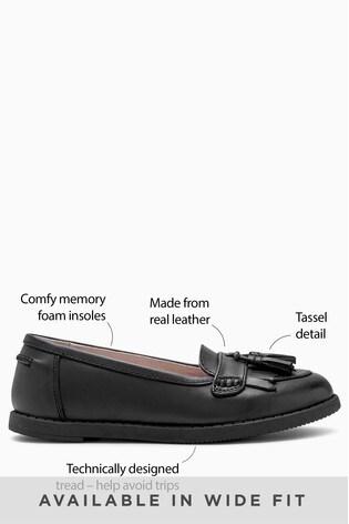 Black Standard Fit Leather Tassel Loafers (Older)