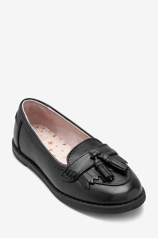 Buy Black Wide Fit Leather Tassel