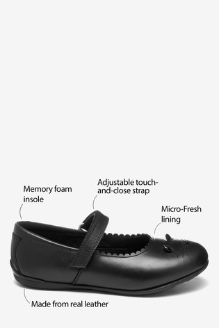 Black Leather Character Mary Jane Shoes