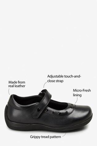Black Leather Junior Mary Jane Shoes (Older)
