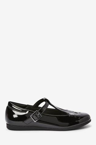 Black Patent Star T-Bar Shoes (Older)