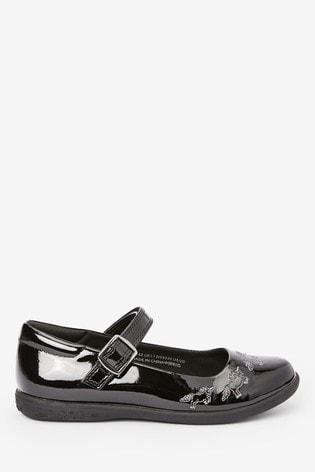 Black Patent Unicorn Mary Jane Shoes (Older)