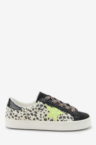 Monochrome Animal Print Star Lace-Up Trainers (Older)