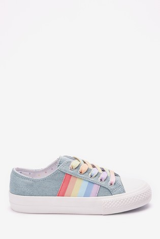 Denim Rainbow Stripe Lace-Up Trainers (Older)