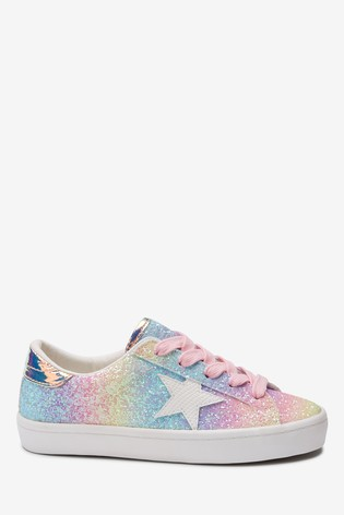 Rainbow Glitter Star Lace-Up Trainers (Older)
