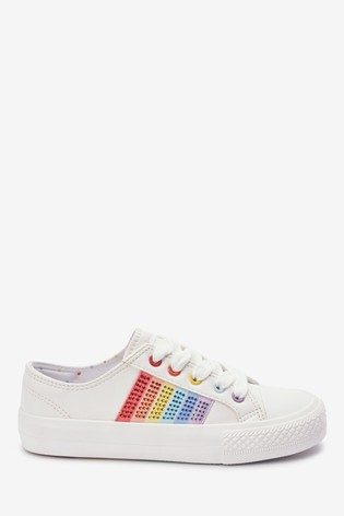White Rainbow Sparkle Lace-Up Trainers (Older)