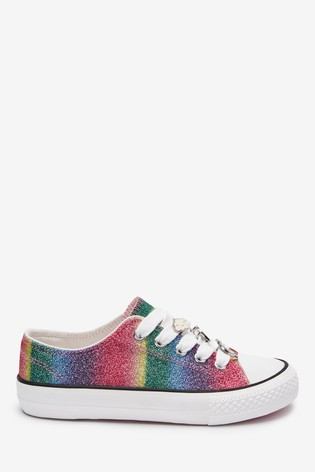 Rainbow Glitter Lace-Up Trainers (Older