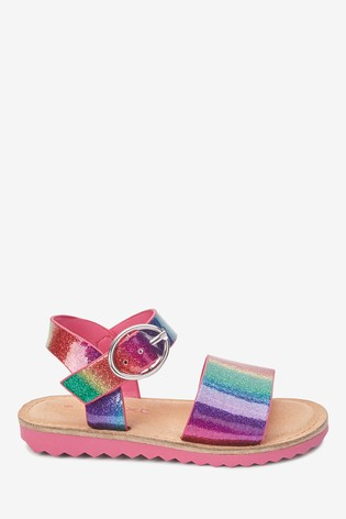 Rainbow Glitter Buckle Sandals (Younger)