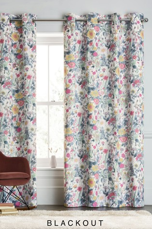 Bright Vintage Floral Eyelet Curtains