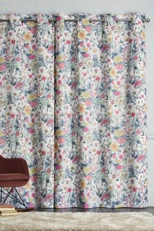 Bright Vintage Floral Eyelet Curtains