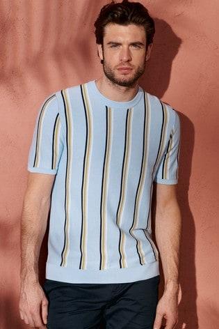 Light Blue Vertical Stripe Knitted T-Shirt