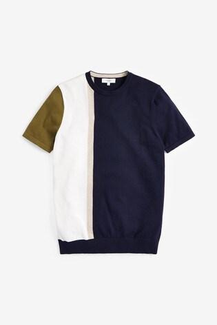Navy/White Vertical Stripe Knitted T-Shirt