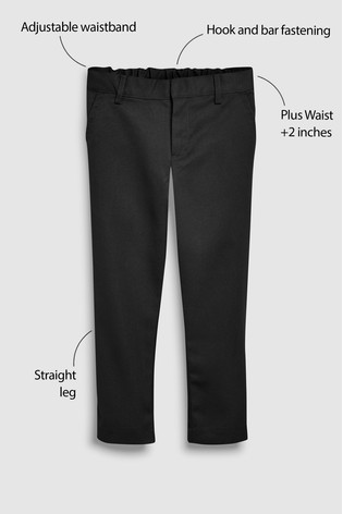 Black Plus Waist Flat Front Trousers (3-17yrs)
