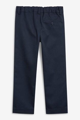 Navy Regular Waist Flat Front Trousers (3-17yrs)