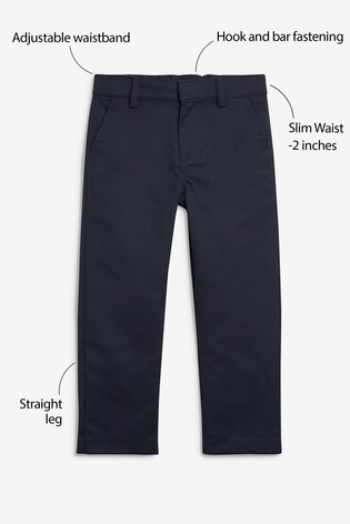 Navy Slim Waist Flat Front Trousers (3-17yrs)