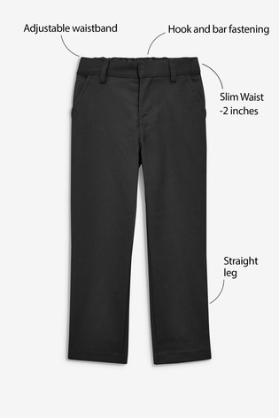 Black Slim Waist Flat Front Trousers (3-17yrs)
