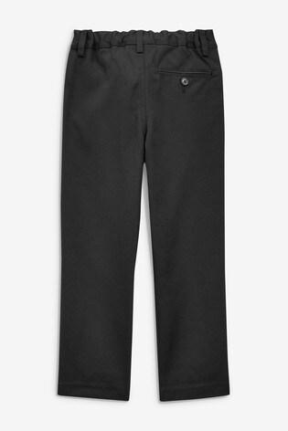 Black Slim Waist Flat Front Trousers (3-17yrs)