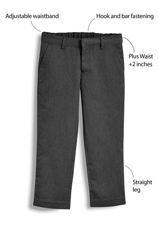 Grey Plus Waist Flat Front Trousers (3-17yrs)
