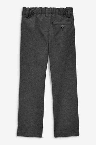 Grey Slim Waist Flat Front Trousers (3-17yrs)