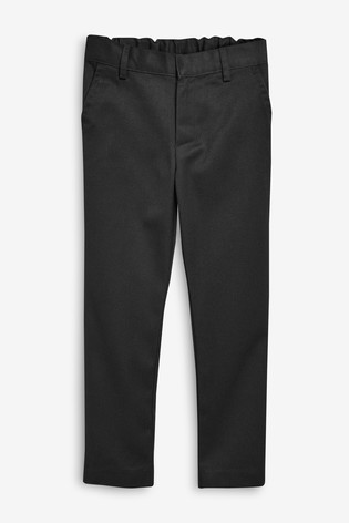 Black Regular Waist Flat Front Trousers (3-17yrs)