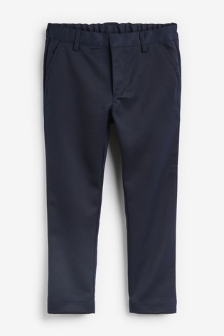 Navy Plus Waist Flat Front Trousers (3-17yrs)