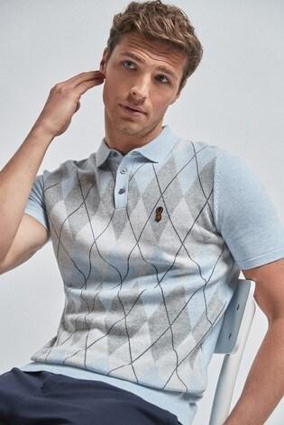 Light Blue Argyle Pattern Cotton Short Sleeve Polo