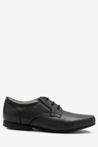 Black Wide Fit Leather Formal Lace-Up Shoes (Older)