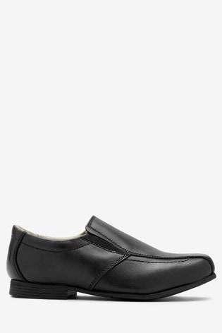 Black Wide Fit Leather Formal Loafers (Older)