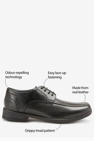 Black Leather Lace-Up Shoes (Older)