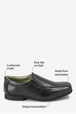 Black Standard Fit Leather Formal Loafers (Older)